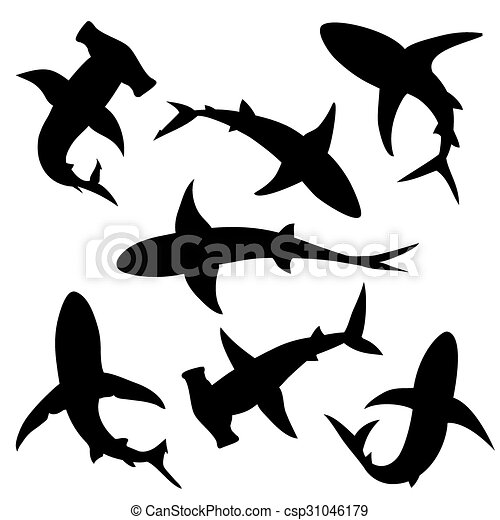 shark vector silhouettes set sea fish animal swimming vectors rh canstockphoto com shark victory press blue/grey watch shark victory press blue/grey