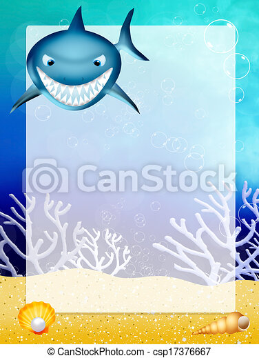 Illustration of shark with frame stock illustration - Search Clip ...