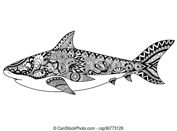 Shark zentangle-inspired. Zendoodle design of shark for tattoo ...