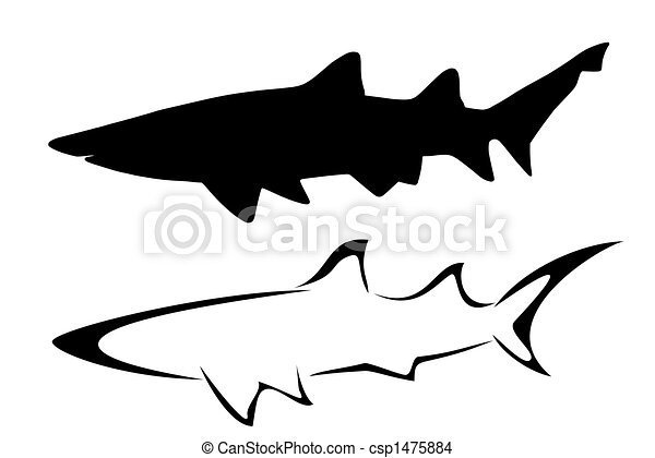 Sharks Set Of Two Tribal Shark Tattoos