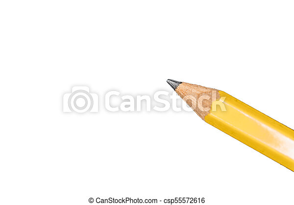 a bright yellow sharpened pencil with white background