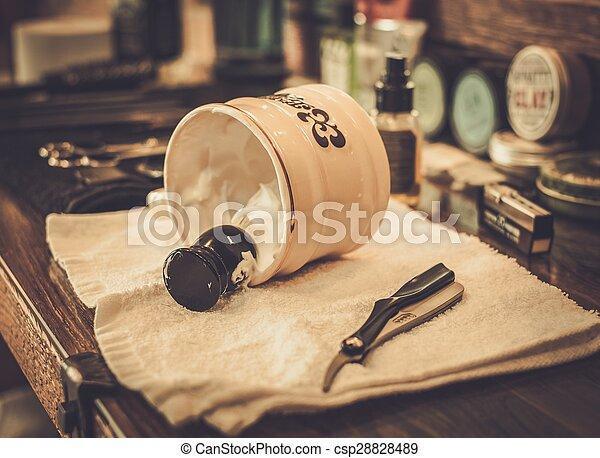 Shaving accessories in barber shop - csp28828489