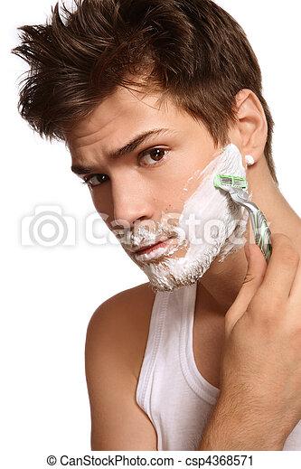 Shaving man - csp4368571
