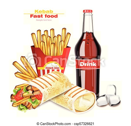 Shawarma Or Kebab Menu Fast Food Vector Delicious Shawarma With French Fries And Soda Detailed Illustrations
