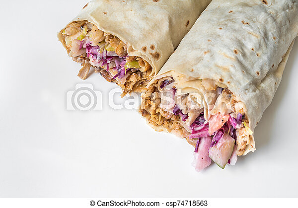 Shawarma Traditional Turkish Chicken Doner Kebap In Roll Of Lavash Durum Doner Kebab Concept Canstock