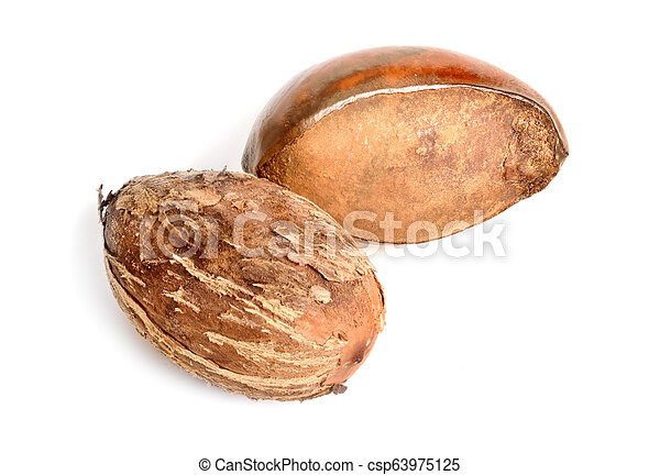 Shea butter nuts or karite fruit. Isolated on white background - csp63975125