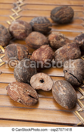 shea nuts near butter on white background - csp27071418