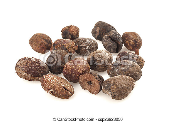 shea nuts on white background, karite seeds - csp26923050