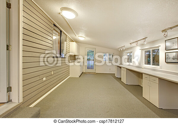 Shed ceiling bright art room. office room. Empty shed ceiling bright ...