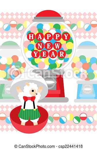 sheep, おもちゃ, カプセル, 年, 新しい, 幸せ - csp22441418
