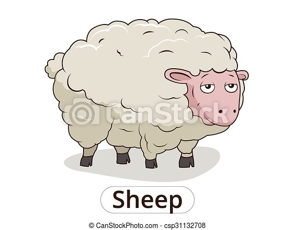 Sheep animal cartoon illustration for children - csp31132708