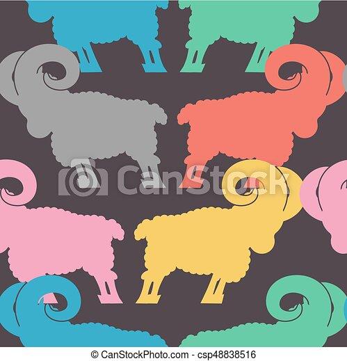Patrón de carne. Un adorno de oveja. Fondo animal de granja - csp48838516