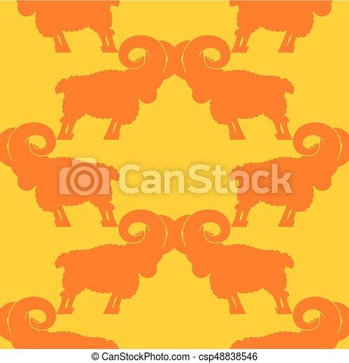 Patrón de carne. Un adorno de oveja. Fondo animal de granja - csp48838546