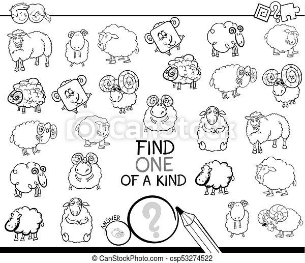 Un juego amable con un libro de color de oveja - csp53274522