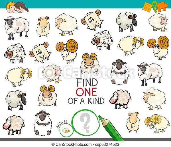 sheep, clase, hallazgo, caracteres, uno - csp53274523