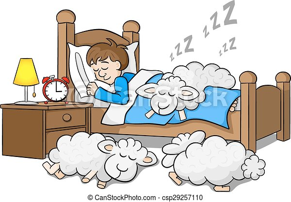 sheep fall asleep on the bed of a sleeping man - csp29257110