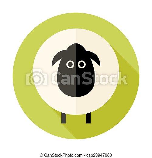 Sheep Flat Circle Icon over Green - csp23947080
