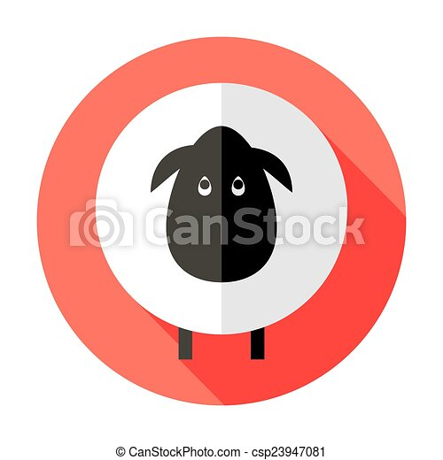 Sheep Flat Circle Icon over Red - csp23947081