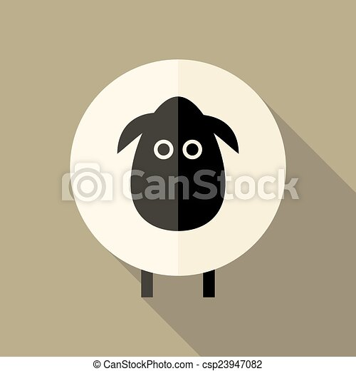 Sheep Flat Icon over Brown - csp23947082