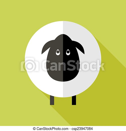 Sheep Flat Icon over Green - csp23947084