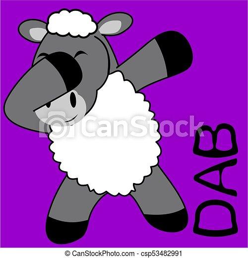 Dab pinchando dibujos animados de niño oveja - csp53482991