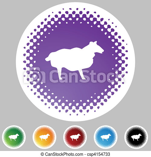 Sheep Halftone Icon Set - csp4154733