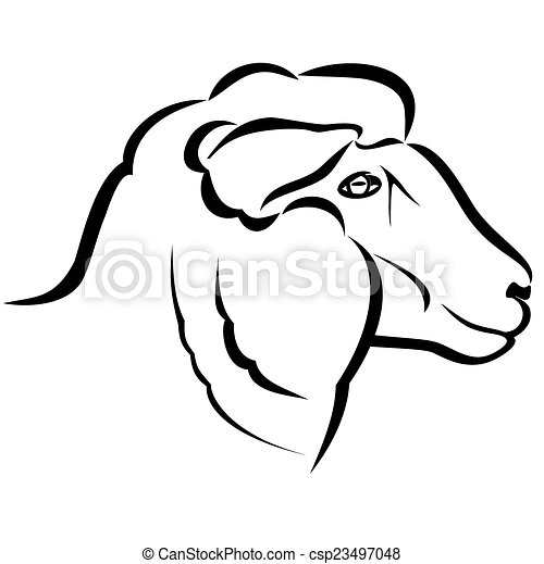Vector Illustration Sheep Head On A White Background Eps