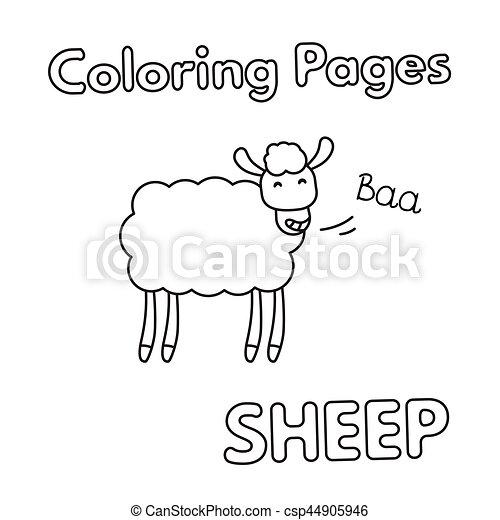 Libro De Colorear Ovejas De Dibujos Animados Ilustracion De