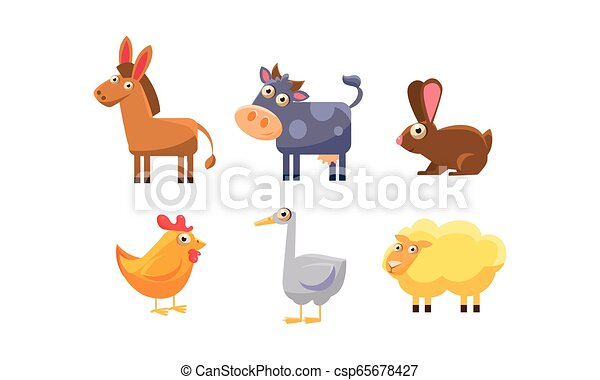 Lindos Animales De Granja Burro Vaca Pollo Conejo Ganso Vector De Piel De Oveja Bonitos Animales De Granja Burro Canstock