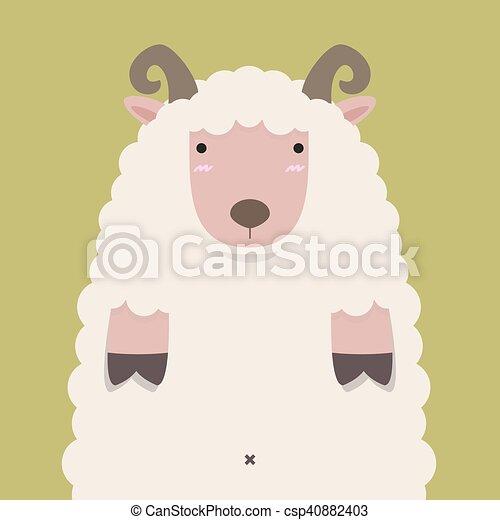 Una linda y gorda oveja de cuerno marrón - csp40882403