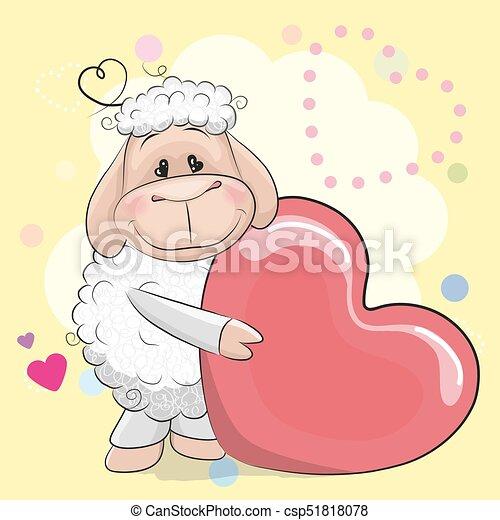Tarjeta de felicitación Oveja con corazón - csp51818078