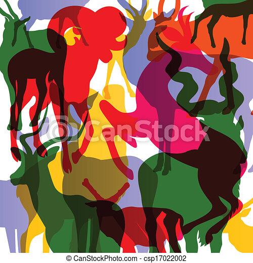 Ciervos, alces y ovejas montañosas con cuernos a los animales abstractos vector de ilustración de fondo - csp17022002