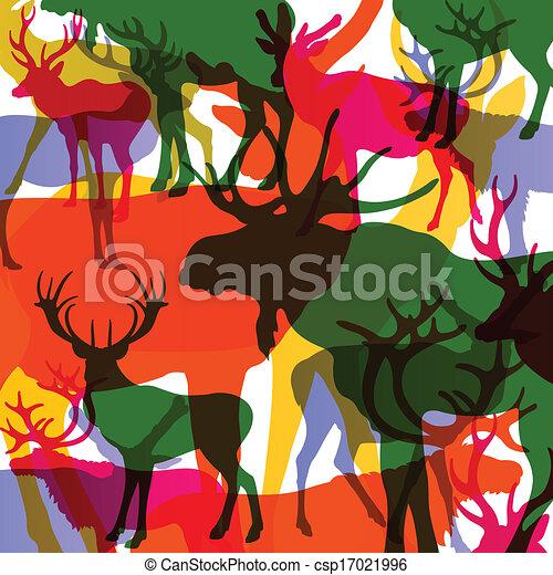 Ciervos, alces y ovejas montañosas con cuernos a los animales abstractos vector de ilustración de fondo - csp17021996
