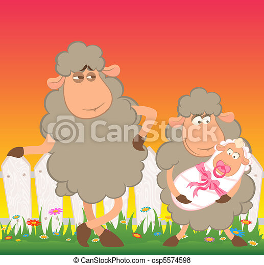 sheep mother with infant baby - csp5574598