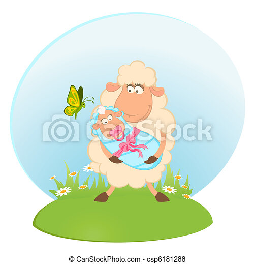 sheep mother with infant baby - csp6181288
