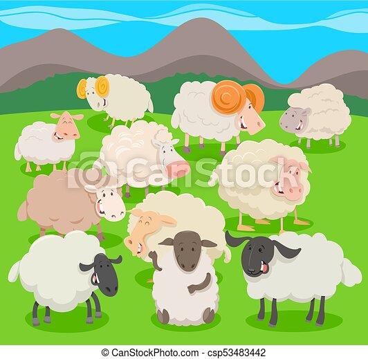 Flock de personajes de oveja dibujando dibujos animados - csp53483442