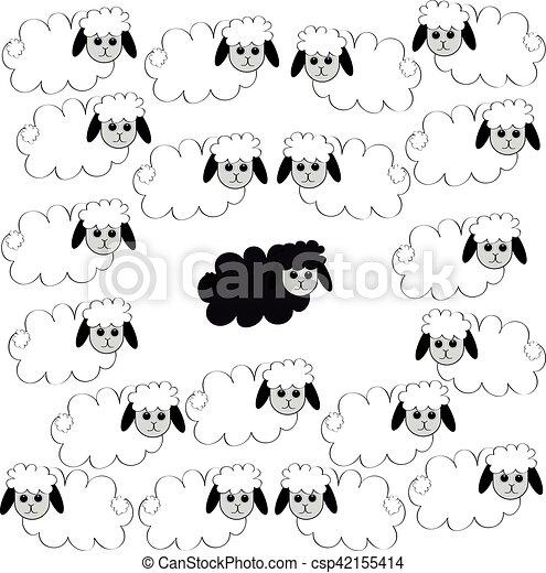 Flock de ovejas. - csp42155414