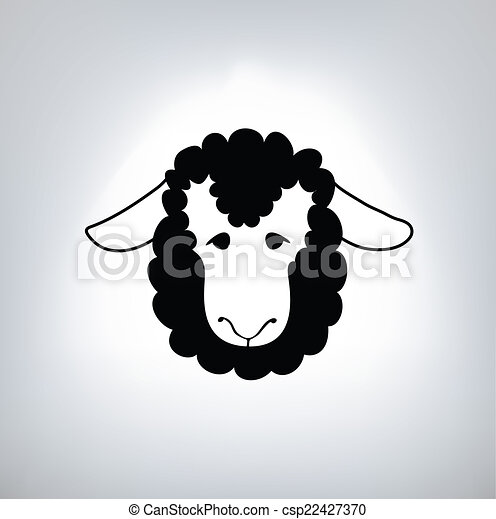 sheep, negro, silueta - csp22427370