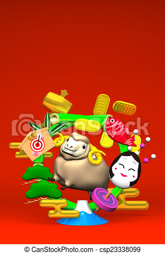 Sheep, New Year's Bamboo Wreath - csp23338099