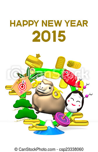 Sheep, New Year's Bamboo Wreath - csp23338060