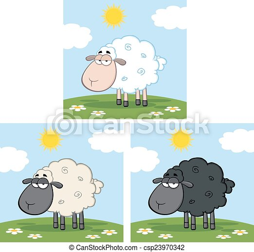 Sheep On A Meadow. Collection  - csp23970342