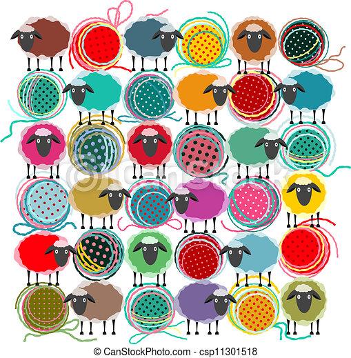 sheep, pelotas, tejido de punto, resumen, hilo, cuadrado, composición - csp11301518