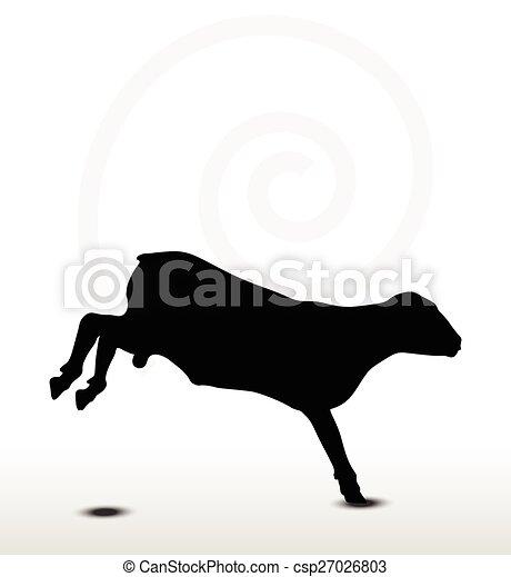 Silueta de ovejas con pose de salto - csp27026803