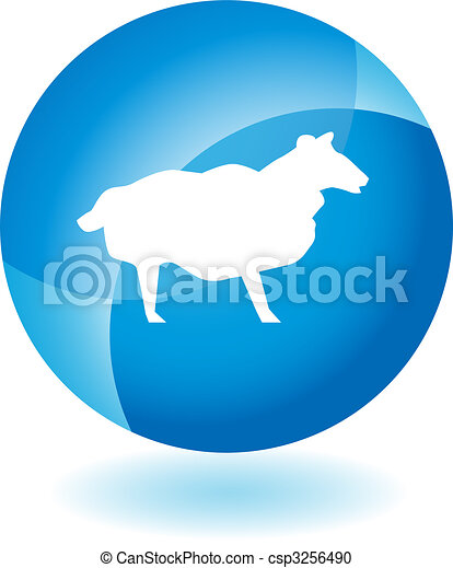 Sheep Transparent Blue Icon - csp3256490