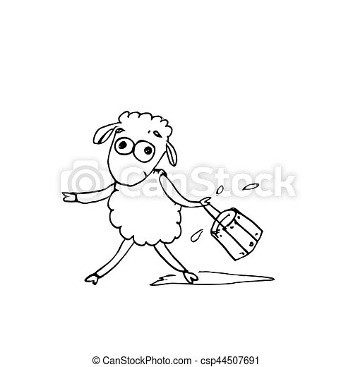 sheep with a bucket of water hand draw sketch vector