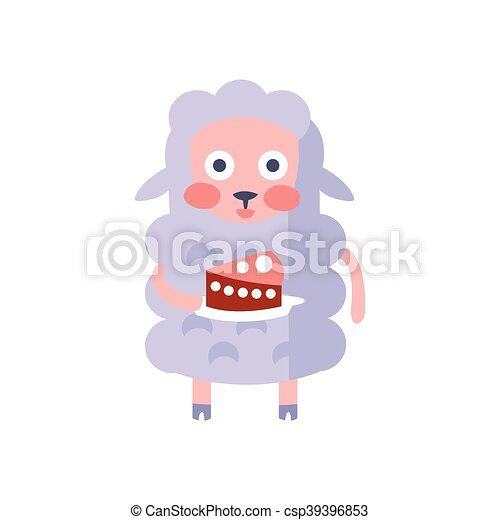 Sheep With Party Attributes Girly Stylized Funky Sticker - csp39396853