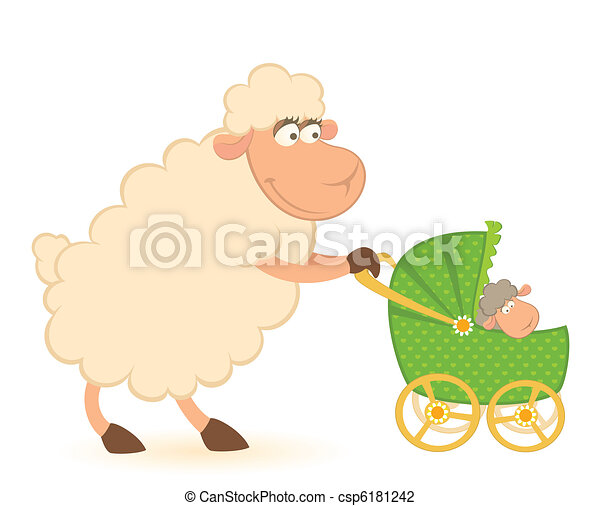 sheep with scribble baby carriage - csp6181242