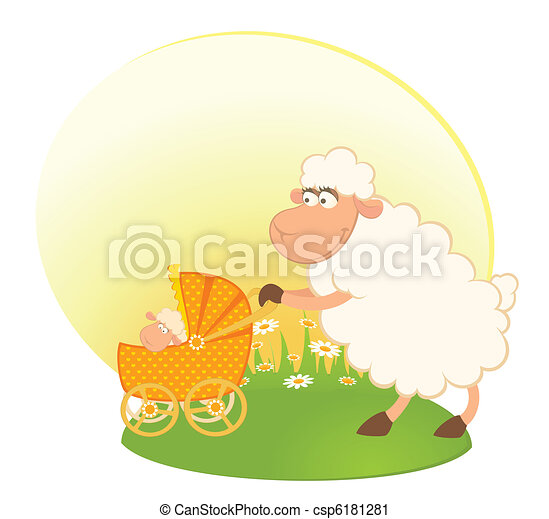 sheep with scribble baby carriage - csp6181281