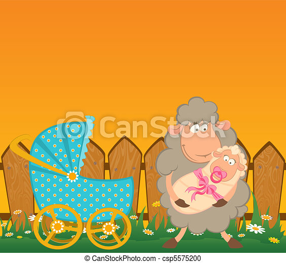 sheep with scribble baby carriage - csp5575200