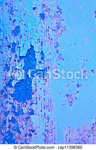 Sheet metal, painted blue and white, with signs of rust. Background - csp11398360